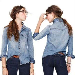 Madewell Chambray Western Snap front, pockets MED